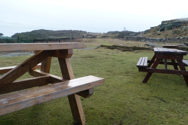 Picnic tables in position