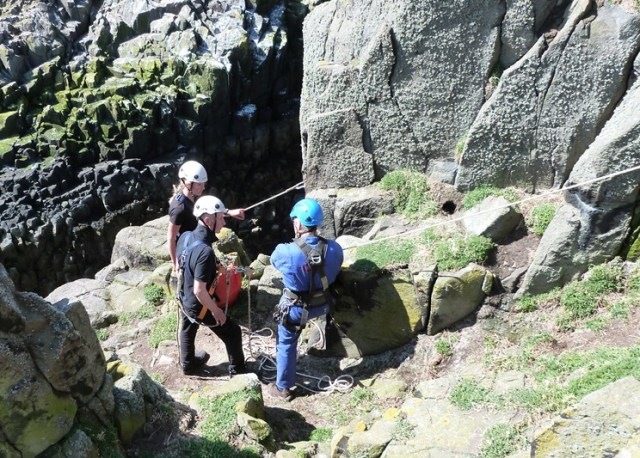 The SNH team being trained to use ropes on the cliff tops