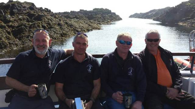 Top boat team (left to right) Jack, Simon, Alex (skipper and birthday boy of May Princess) and Roy (skipper of Osprey).