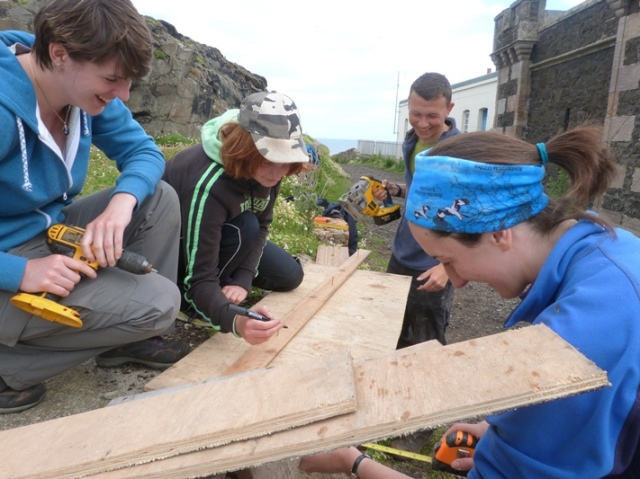 SOC young birders building Tern boxes for next season