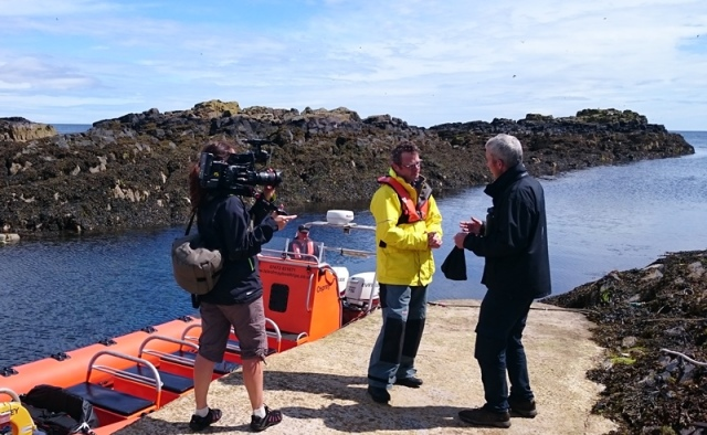 Hugh interviewing Steely on the arrival to the island